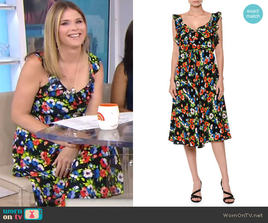 Floral Sleeveless Silk Midi Dress by MSGM worn by Jenna Bush Hager  on Today