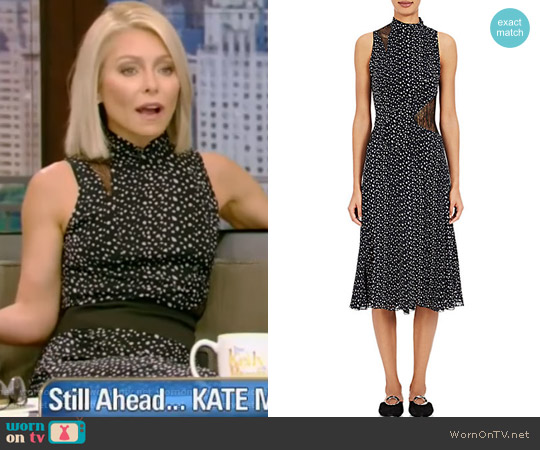 Lace-Inset Silk Midi-Dress by Proenza Schouler worn by Kelly Ripa (Kelly Ripa) on Live with Kelly & Ryan
