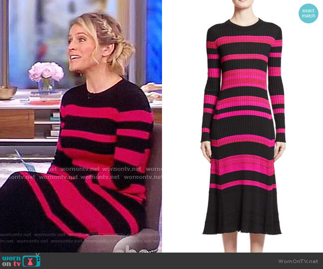 Stripe Cashmere, Wool & Silk Midi Dress by Proenza Schouler worn by Sara Haines on The View