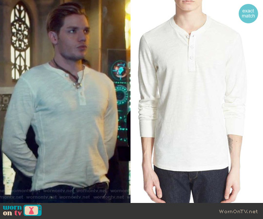 Standard Issue Slub Cotton Henley by Rag & Bone worn by Dominic Sherwood on Shadowhunters