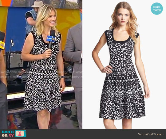 Intarsia A-Line Dress by Rebecca Taylor worn by Sara Haines on Good Morning America