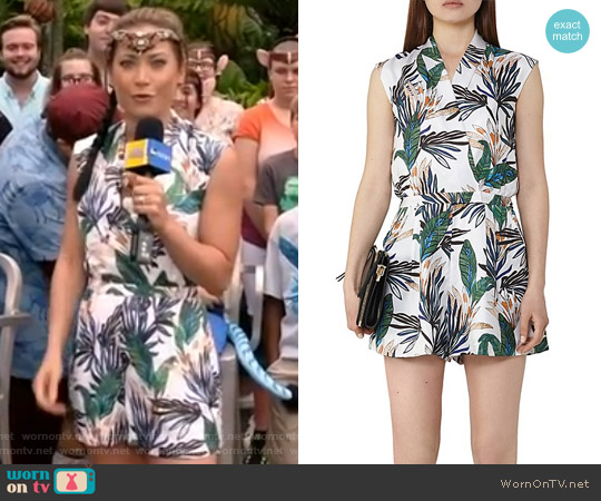 Bette Printed Silk Romper by Reiss worn by Ginger Zee on Good Morning America