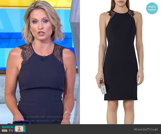 Saturn Lace-Trimmed Dress by Reiss worn by Amy Robach on Good Morning America