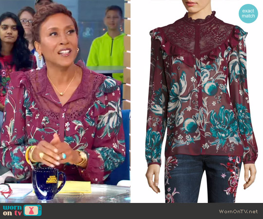 Silk Floral Lace Blouse by Roberto Cavalli worn by Robin Roberts  on Good Morning America