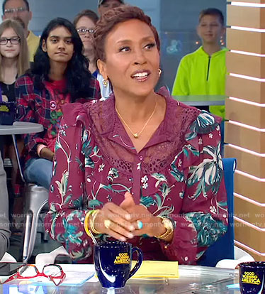 Robin's burgundy floral ruffle trimmed blouse and skirt on Good Morning America