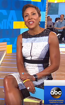 Robin's mixed lace sleeveless dress on Good Morning America