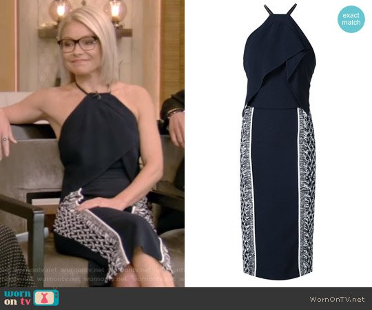 Navy Blue Side Print Halterneck Dress by Roland Mouret worn by Kelly Ripa  on Live with Kelly & Ryan