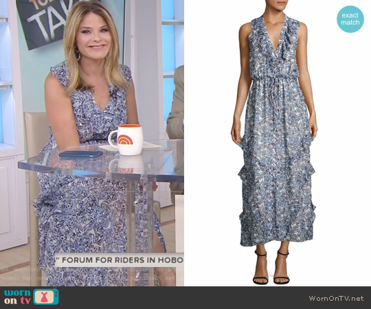Lizzie Ruffled Silk Maxi Dress by Saloni worn by Jenna Bush Hager (Jenna Bush Hager) on Today