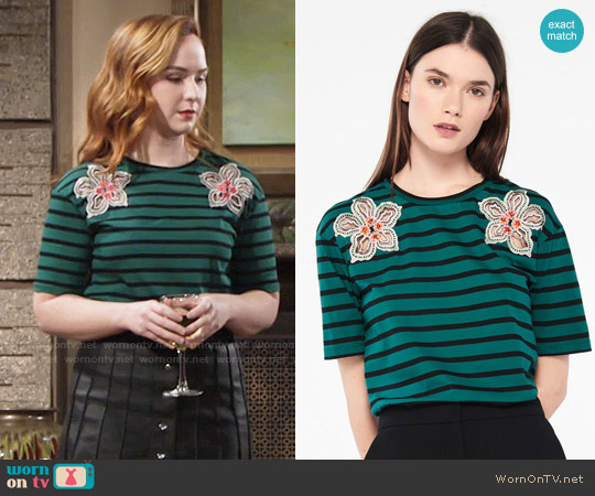 Sandro T-Shirt With Stripes And Flower Patches worn by Camryn Grimes on The Young & the Restless