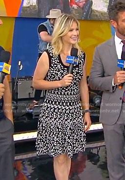 Sara's black leopard sleeveless dress on Good Morning America