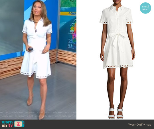 Bertha Belted Eyelet Shirtdress by Shoshanna worn by Ginger Zee on Good Morning America