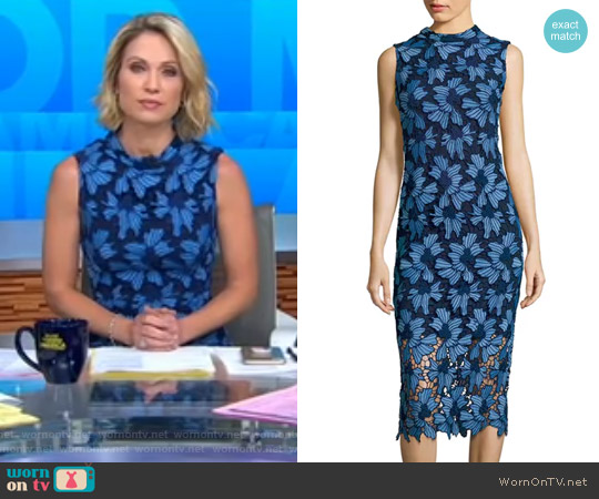 Midnight Floral Lace Midi Dress by Shoshanna worn by Amy Robach on Good Morning America
