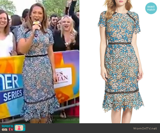 Octavia Lace Midi Dress by Shoshanna worn by Ginger Zee on Good Morning America
