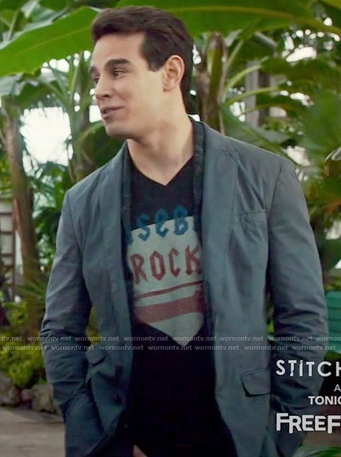 Simon's black baseball rocks tee on Shadowhunters