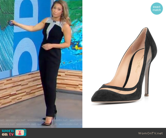 Suede & Tulle Keyhole Pump by Gianvito Rossi worn by Ginger Zee on Good Morning America