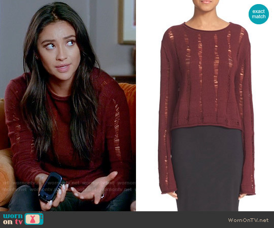 T by Alexander Wang Drop Needle Merino Jersey Crop Sweater worn by Shay Mitchell on PLL