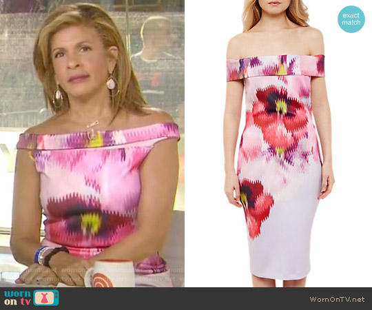 Expressive Pansy Midi Bardot Dress by Ted Baker worn by Hoda Kotb on Today