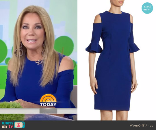 Cold Shoulder Bell Sleeve Dress by Teri Jon by Rickie Freeman worn by Kathie Lee Gifford on Today