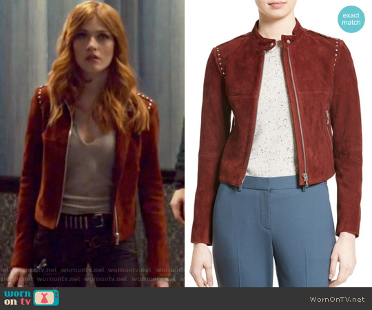 Bavewick Suede Jacket by Theory worn by Clary Fray on Shadowhunters