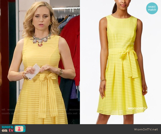 Tommy Hilfiger Illusion-Striped Fit & Flare Dress worn by Fiona Gubelmann on Daytime Divas