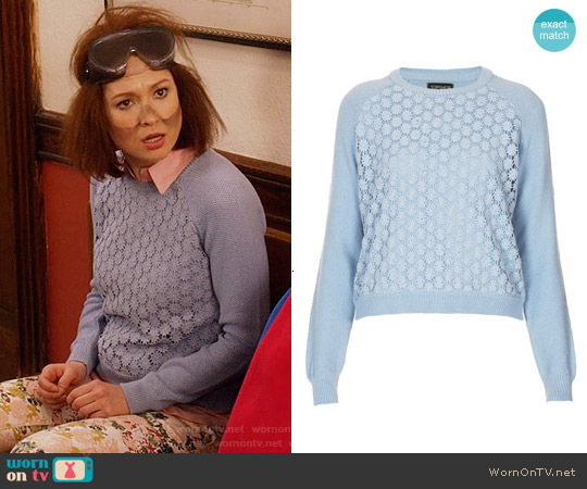 Topshop Floral Crochet Front Jumper worn by Ellie Kemper on Unbreakable Kimmy Schmidt