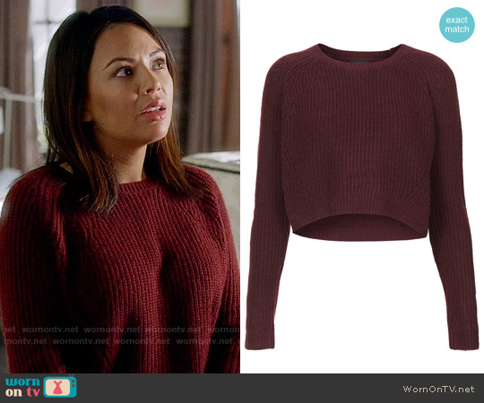 Topshop Knitted Rib Curve Crop Jumper worn by Janel Parrish on PLL