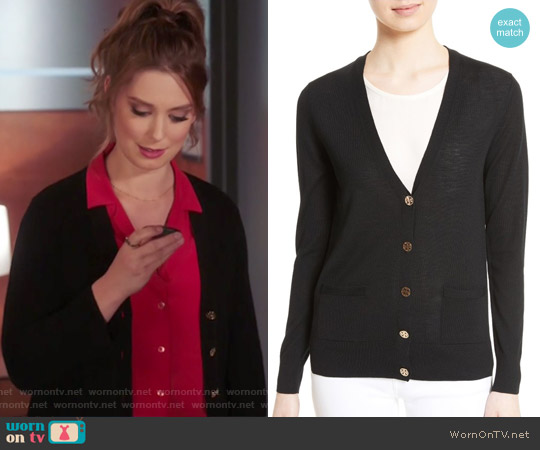 Madeline Merino Wool Cardigan by Tory Burch worn by Briga Heelan on Great News