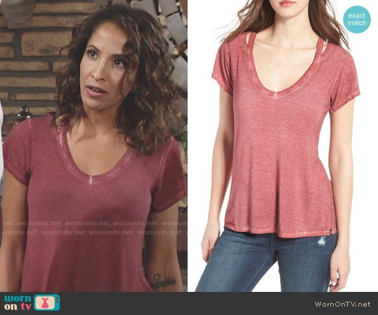 Treasure & Bond Oil Wash Cutout Tee worn by Christel Khalil on The Young & the Restless