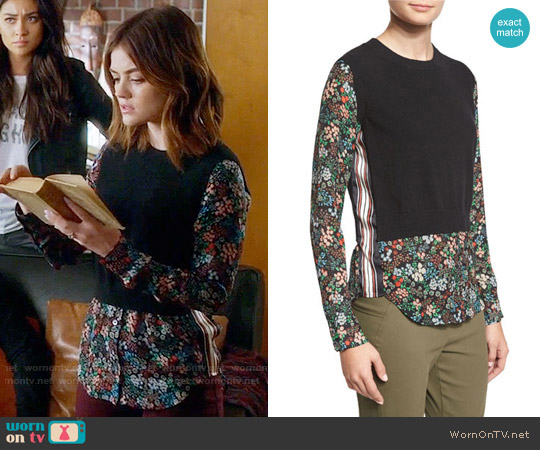 Veronica Beard Mellow Mixed-Media Cashmere Sweater worn by Lucy Hale on PLL