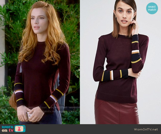 Whistles Hayden Stripe Cuff Sweater worn by Paige Townsen (Bella Thorne) on Famous in Love