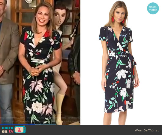 Caught In the Midi Wrap Dress by Yumi Kim worn by Ginger Zee on Good Morning America