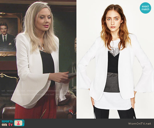 Zara Bell Sleeve Jacket worn by Melissa Ordway on The Young & the Restless