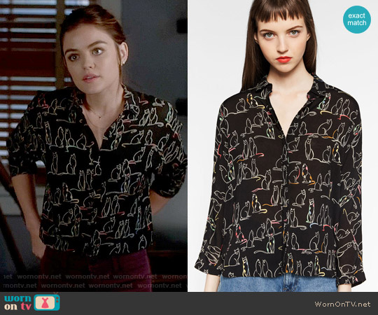 Zara Printed Shirt worn by Lucy Hale on PLL
