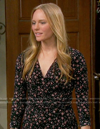 Abby's star print wrap dress on Days of our Lives