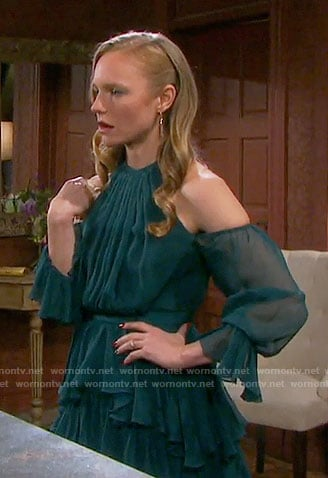 Abby's teal green ruffled cold-shoulder dress on Days of our Lives