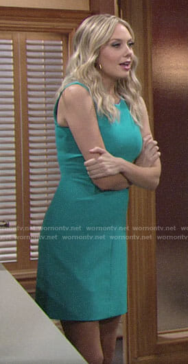 Abby's turquoise blue sleeveless dress on The Young and the Restless