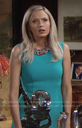 Abby's blue sleeveless dress on The Young and the Restless