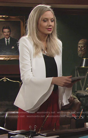 Abby's white bell-sleeve jacket and red culottes on The Young and the Restless