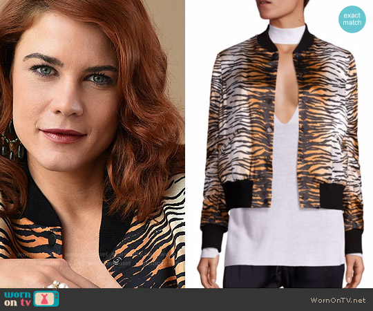 ALC Lloyd Silk Tiger Print Bomber Jacket worn by Courtney Hope on The Bold & the Beautiful