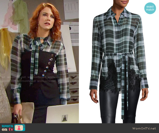 McQ Alexander McQueen Fluid Tartan Plaid Silk Blouse worn by Courtney Hope on The Bold & the Beautiful