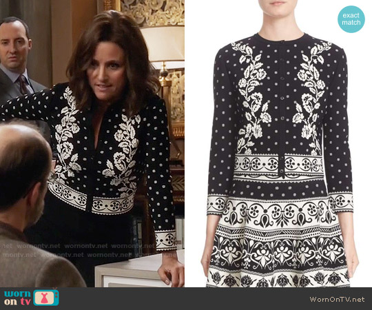 Alexander McQueen Floral Jacquard Cardigan worn by Selina Meyer (Julia Louis-Dreyfus) on Veep