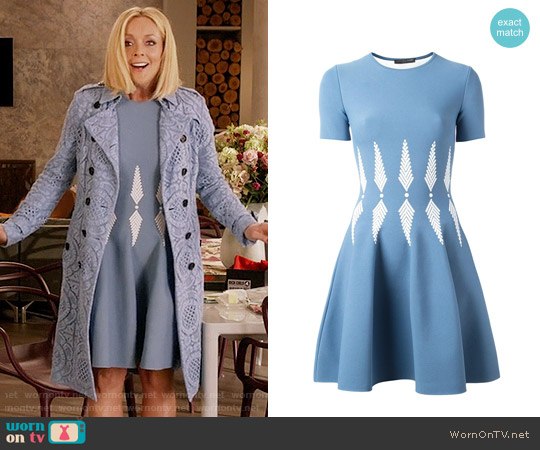 Alexander McQueen Intarsia Skater Dress worn by Jane Krakowski on Unbreakable Kimmy Schmidt