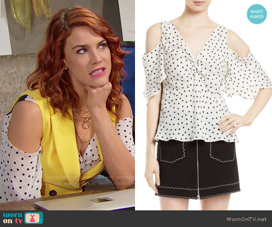 MCQ Alexander McQueen Polka Dot Cold Shoulder Top worn by Sally Spectra on The Bold & the Beautiful