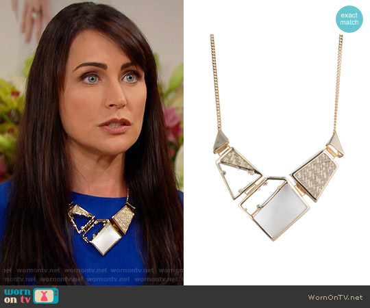 Alexis Bittar Geometric Raffia Bib Necklace worn by Quinn Fuller (Rena Sofer) on The Bold & the Beautiful