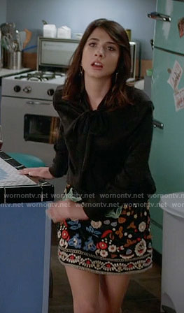 Nina's leaf and metallic print dress on Famous in Love