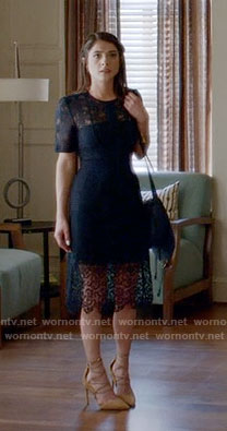 Alexis's navy lace dress on Famous in Love