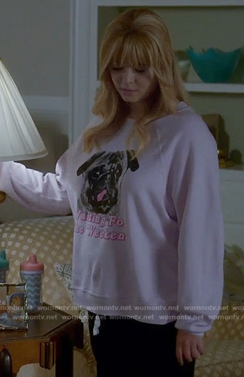 Ali's pink pug graphic sweatshirt on Pretty Little Liars