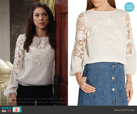 Alice + Olivia Jenelle Top worn by Juliet Helton (Laur Allen) on The Young & the Restless