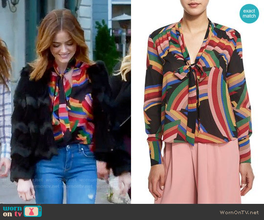 Alice + Olivia Aisha Top worn by Lucy Hale on PLL