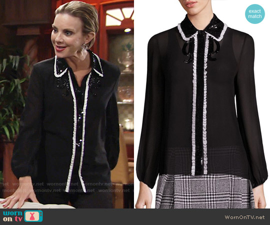 Alice + Olivia Gigi Blouse worn by Judith Chapman on The Young & the Restless